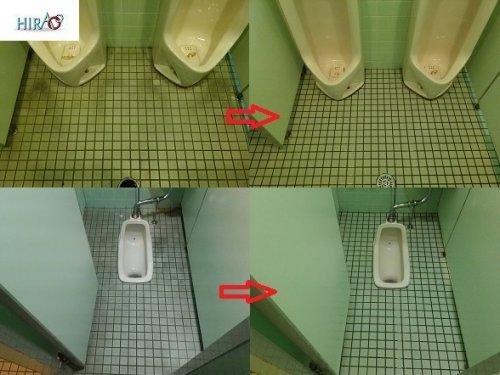 滋賀の甲賀工業団地内 モザイクタイルの特殊洗浄作業