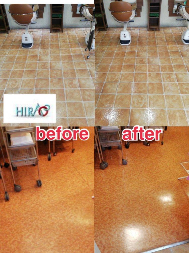 滋賀県草津市にある美容室様にて床清掃です。
