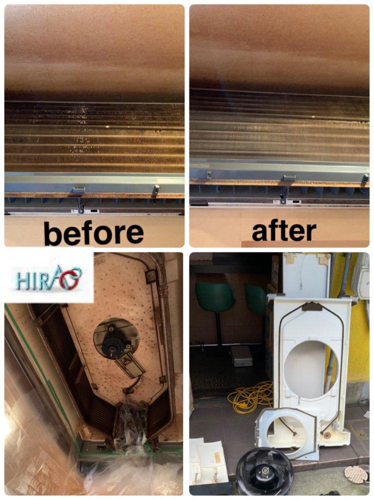 滋賀県草津市にある居酒屋様にてエアコン分解洗浄です。
