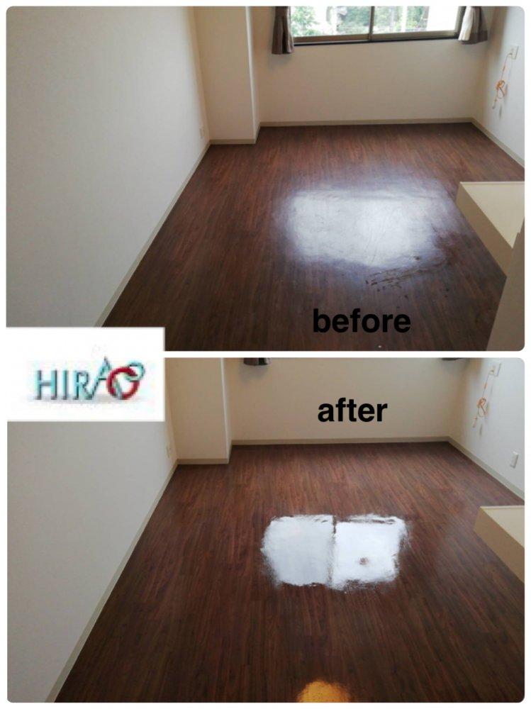 京都府桂にある介護施設様にて床のワックス掛けです。