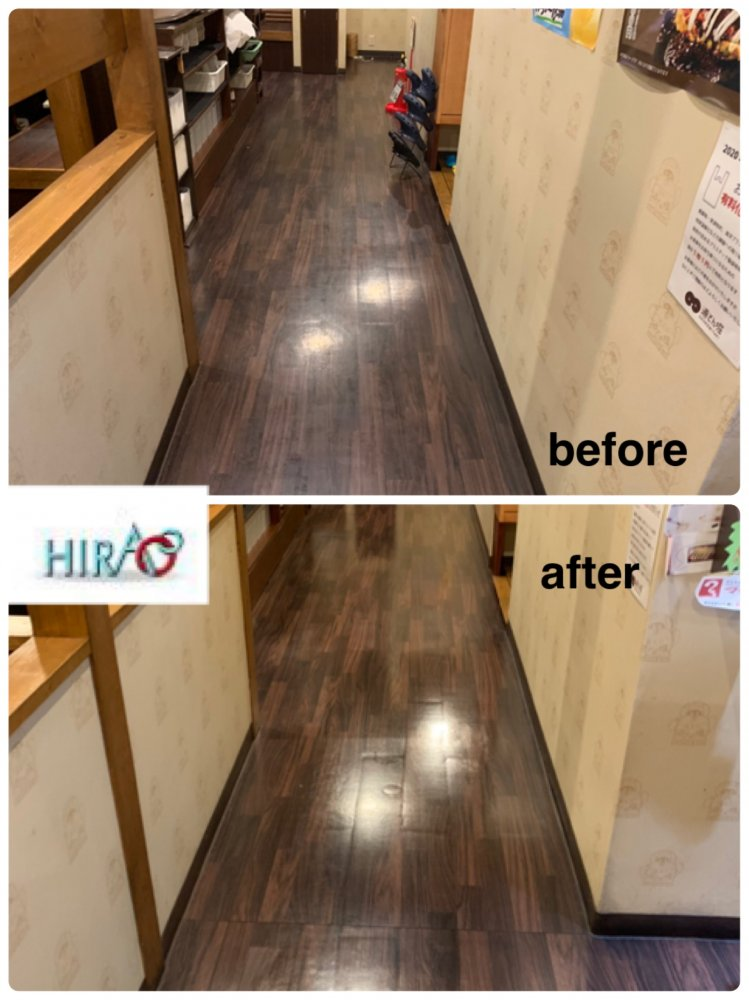 滋賀県彦根市にある飲食店様にて床の清掃です。