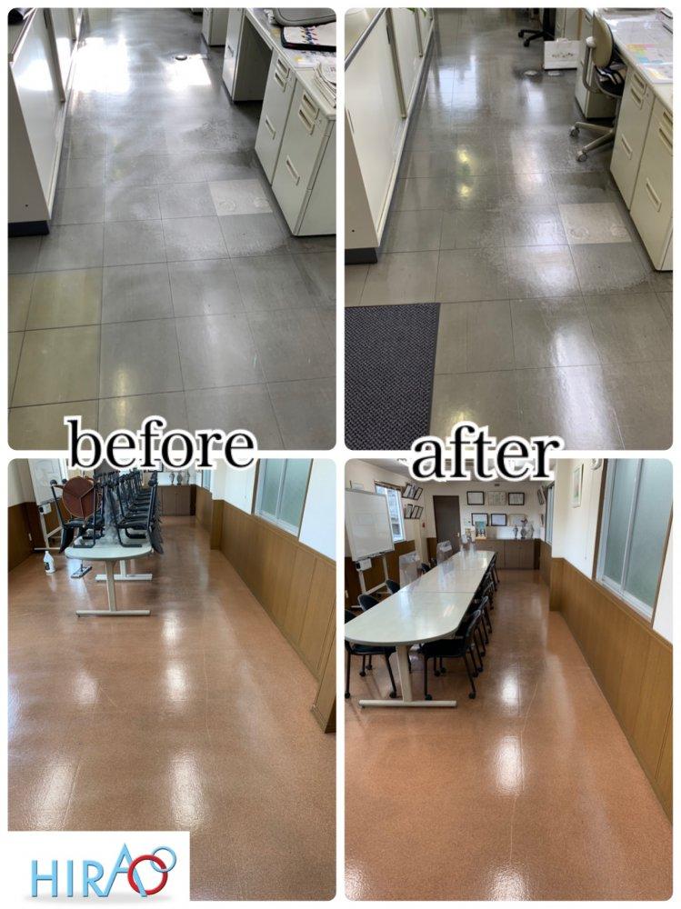 滋賀県草津市にある会社様にて床の清掃です。