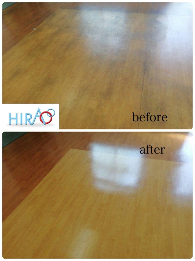 滋賀県信楽にある会社様にて床の剥離清掃です。