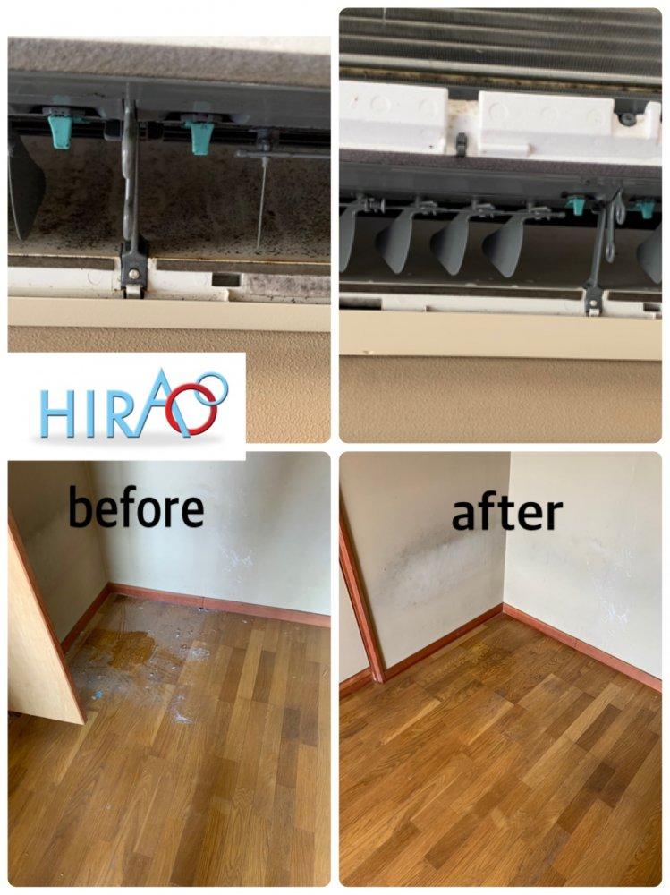 滋賀県にあります会社様の寮にてエアコン、床の清掃です。