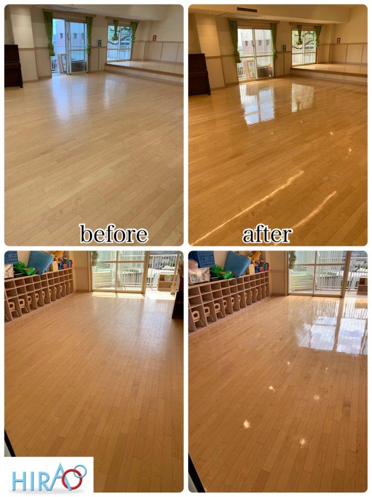大阪にあります幼稚園様にて床の清掃ワックス掛けです。