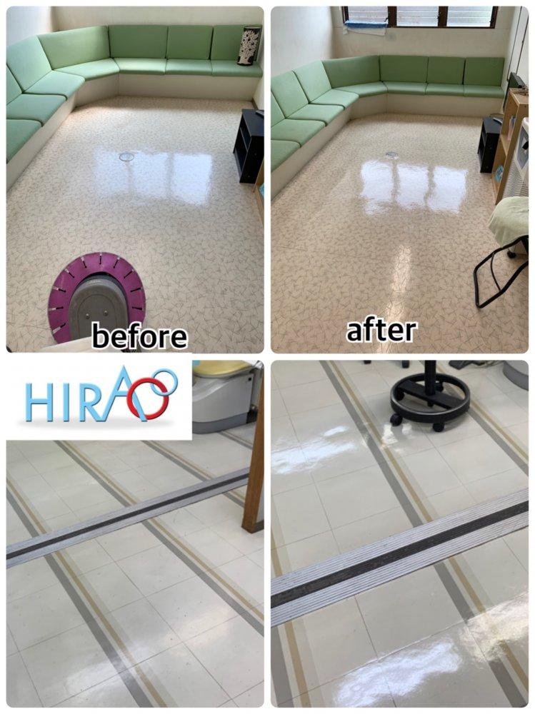 滋賀県にあるクリニック様にて床の清掃です。