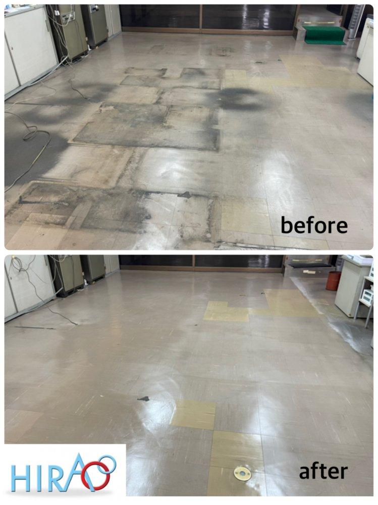 大阪にある会社様にて床の剥離、ワックス掛けです。