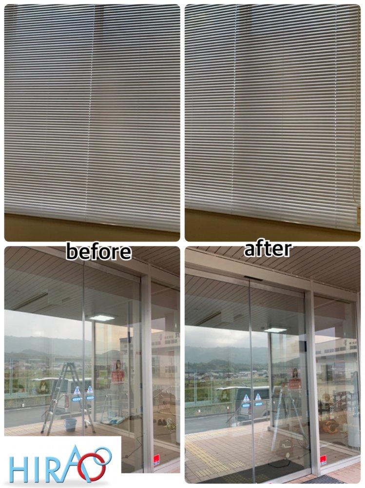 滋賀県にある施設にて、床、ガラス、ブラインドの清掃です。